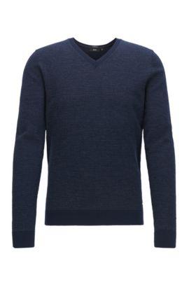 Pull à col V en laine vierge produite sans pratiquer le mulesing, Bleu foncé