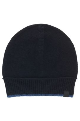 Contrast-piped hat in Italian yarn, Dark Blue