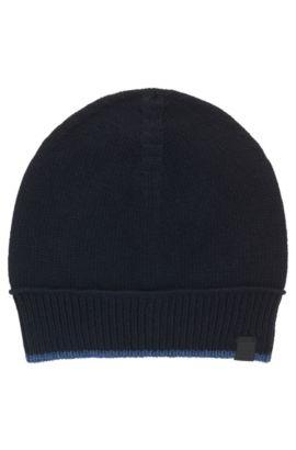 Mütze aus italienischem Baumwoll-Woll-Mix mit kontrastfarbener Einfassung, Dunkelblau