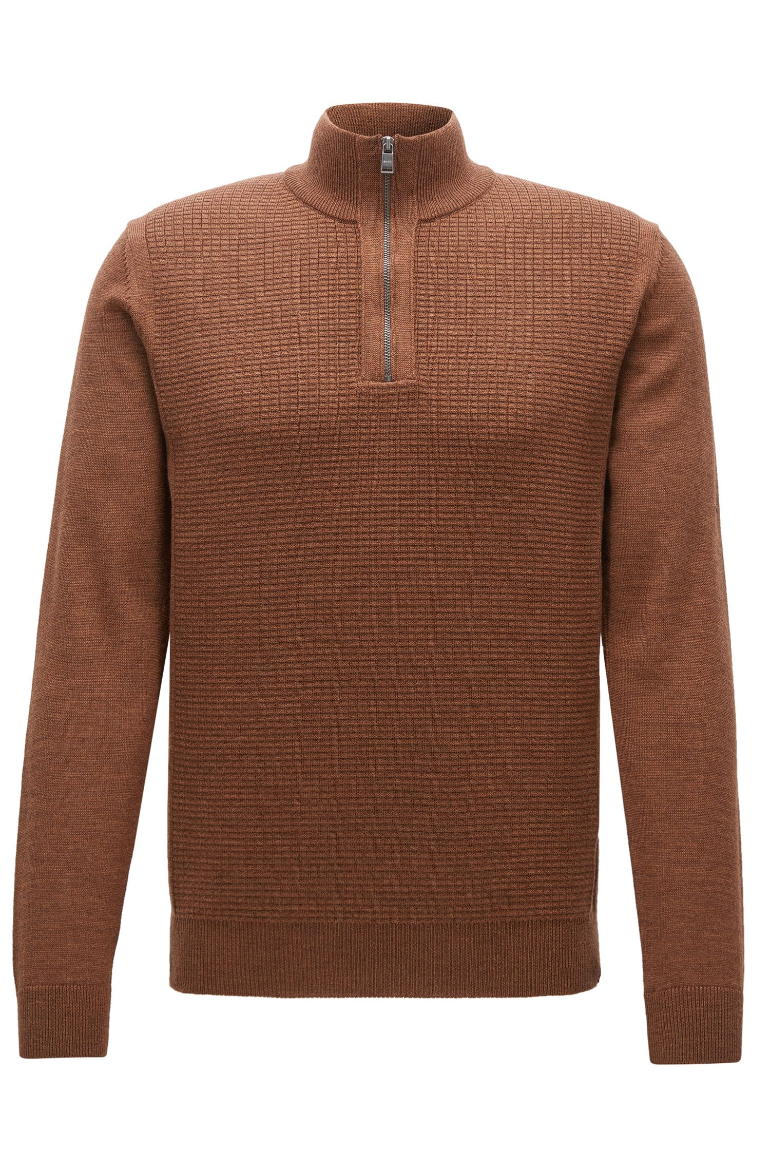 Regular-fit zip-collar sweater in virgin wool
