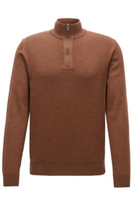 Regular-fit zip-collar sweater in virgin wool, Brown