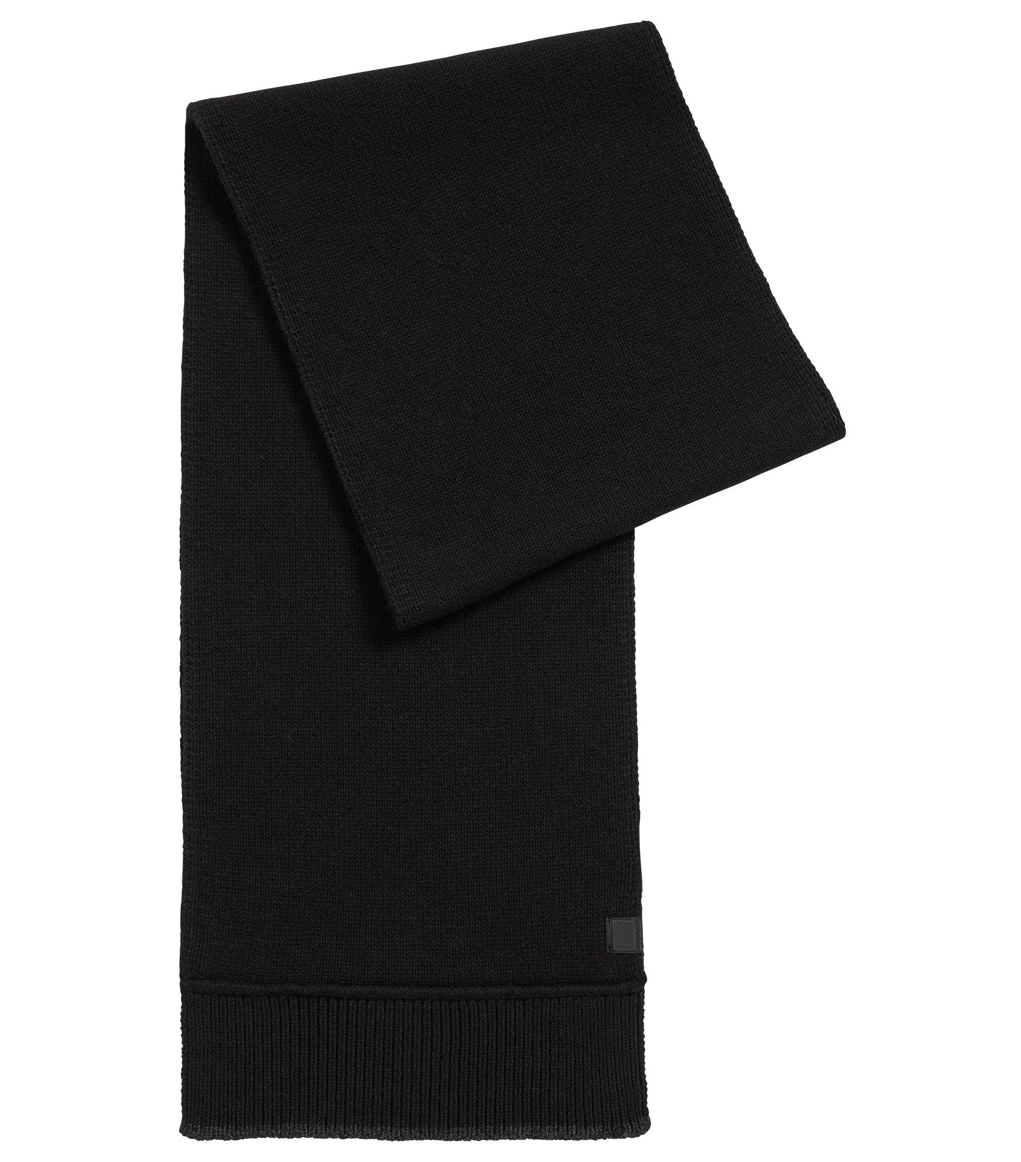 Schal aus italienischem Garn mit kontrastfarbenem Detail, Schwarz