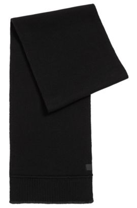 Contrast-trim scarf in Italian yarn, Black