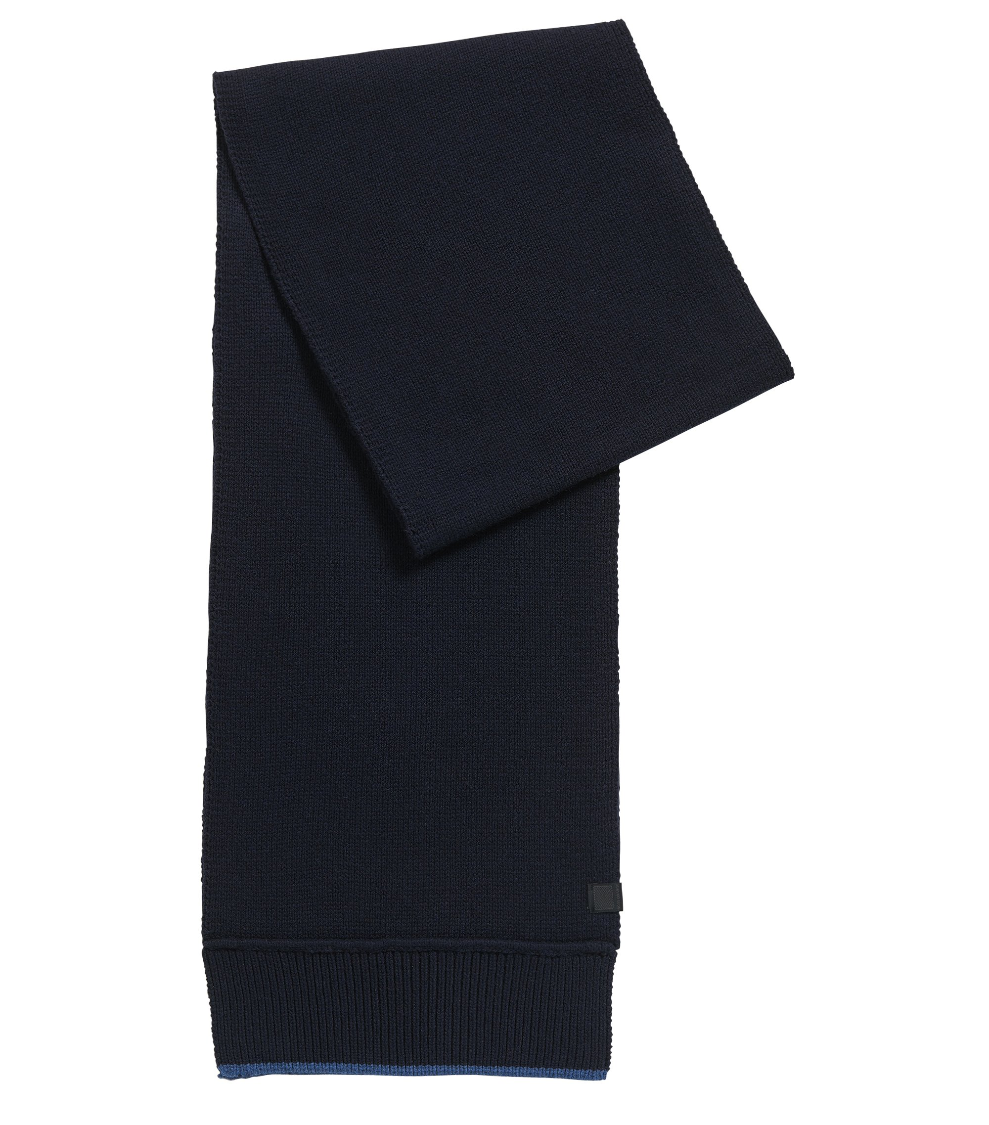 Contrast-trim scarf in Italian yarn, Dark Blue