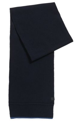 Contrast-trim scarf in Italian yarn, Dark Blue