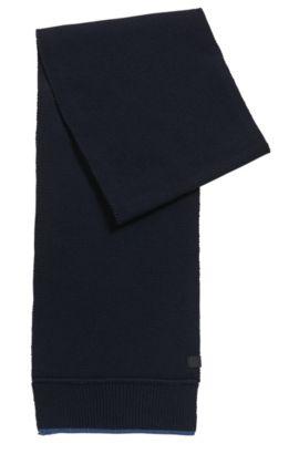 Contrast-trim scarf in Italian yarn, Bleu foncé