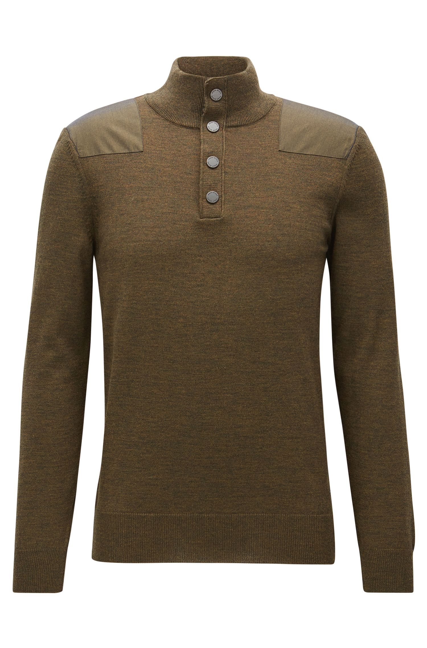 Wool sweater with shoulder patches