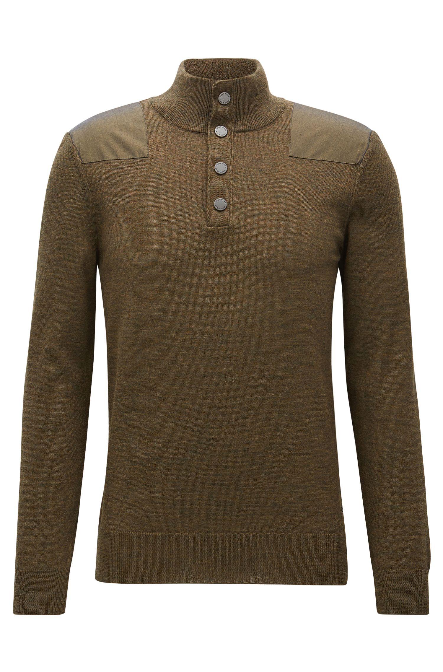 Pull en laine à empiècements sur les épaules