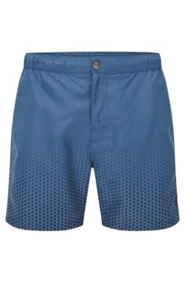 Medium-length swim shorts in technical fabric, Dark Blue