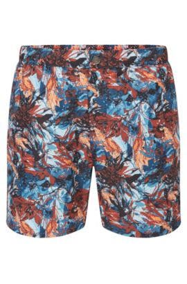 Medium-length swim shorts in technical fabric, Open Blue