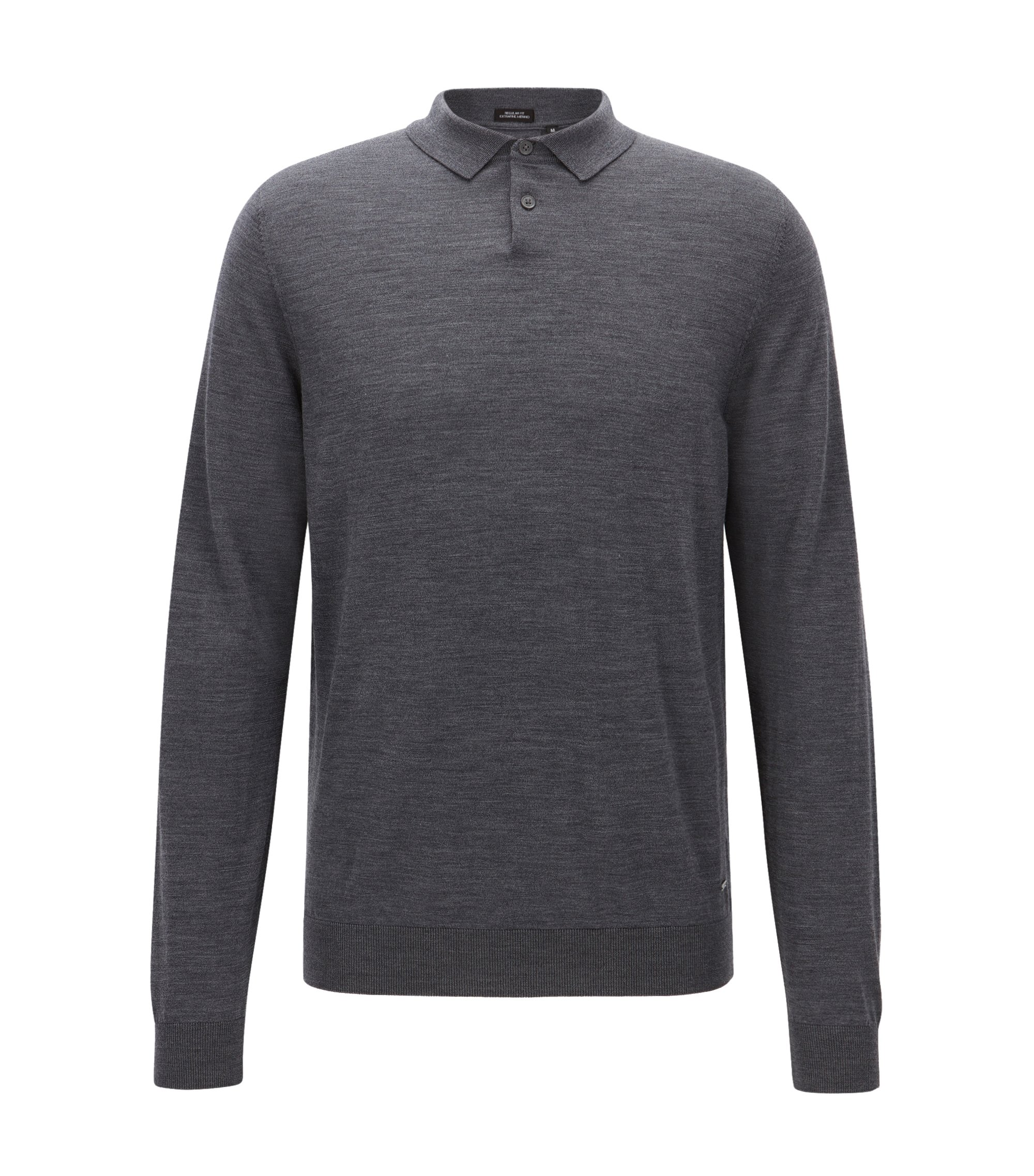 Regular-Fit Polo-Pullover aus Schurwolle, Grau