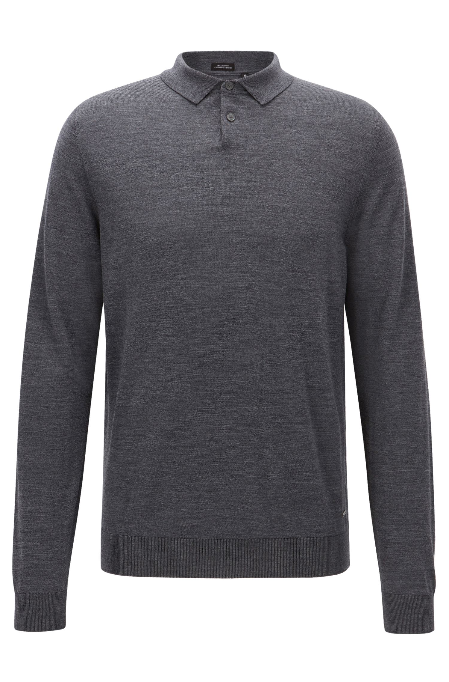 Regular-Fit Polo-Pullover aus Schurwolle