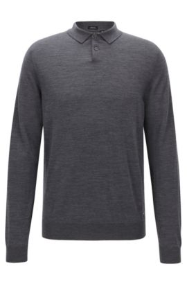 Pull polo Regular Fit en laine vierge, Gris
