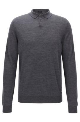 Regular-Fit Polo Pullover aus Schurwolle, Grau