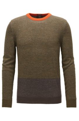Colourblock sweater in virgin wool, Dark Green