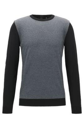 Pull Regular Fit color block en laine vierge, Noir