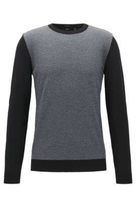 Pull Regular Fit color block en laine vierge, Noir