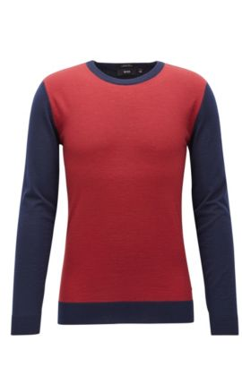 Regular-fit colour-block sweater in virgin wool, Dark Blue