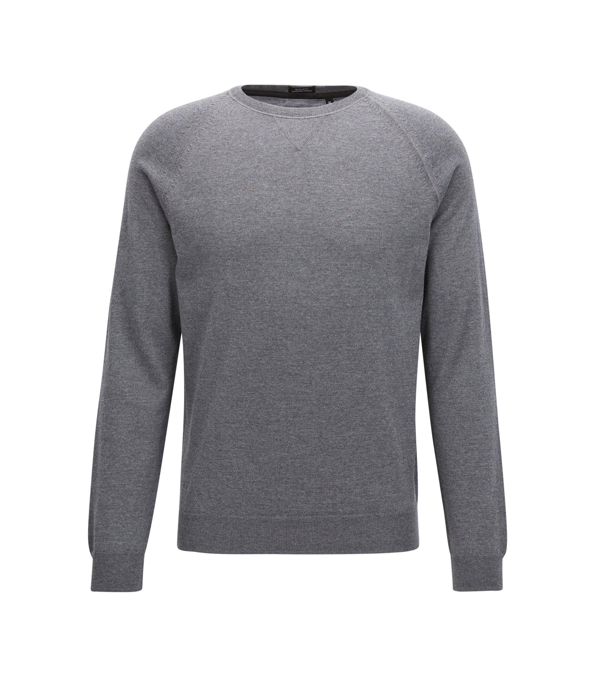 Regular Fit Pullover aus Merinowolle mit Rundhalsausschnitt, Grau