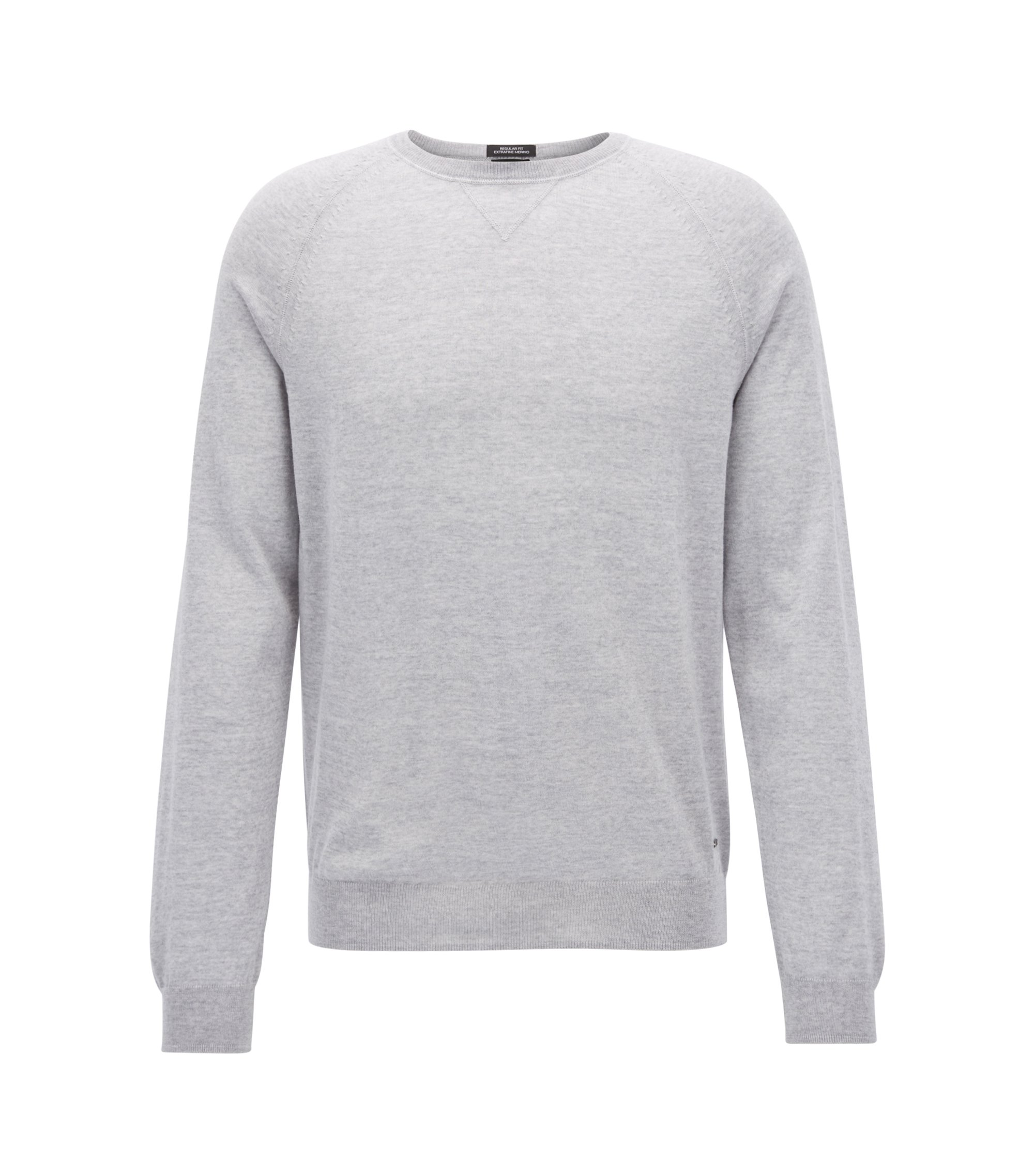 Crew-neck sweater in Merino wool, Light Grey