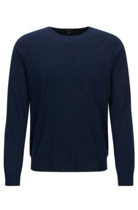 Crew-neck sweater in Merino wool, Dark Blue