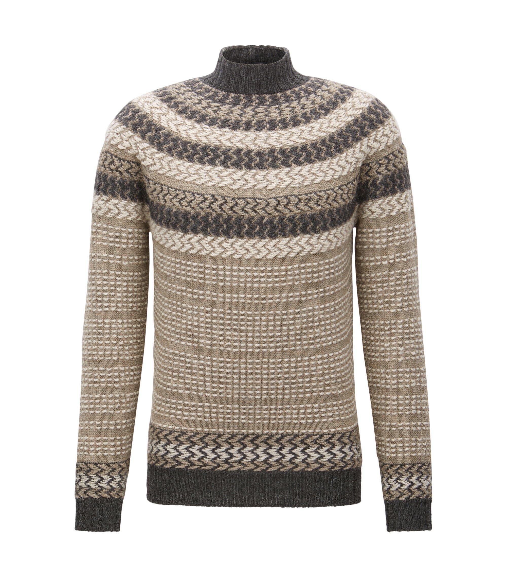 Jersey de estilo noruego tejido en mezcla de lana virgen, Caqui