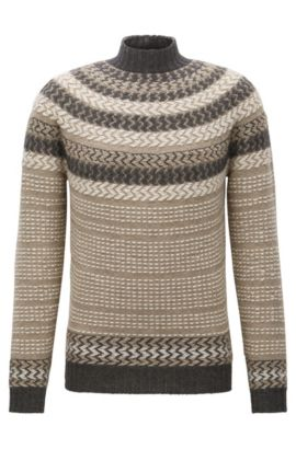 Norwegian-style knitted virgin wool-blend sweater, Khaki
