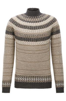 Gebreide trui van een scheerwolmix in Noorse stijl, Kaki