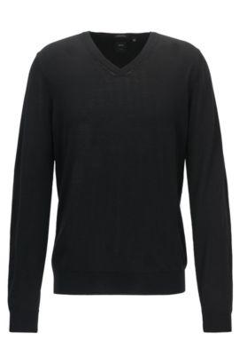 Regular-Fit Pullover aus Schurwolle mit V-Ausschnitt, Schwarz