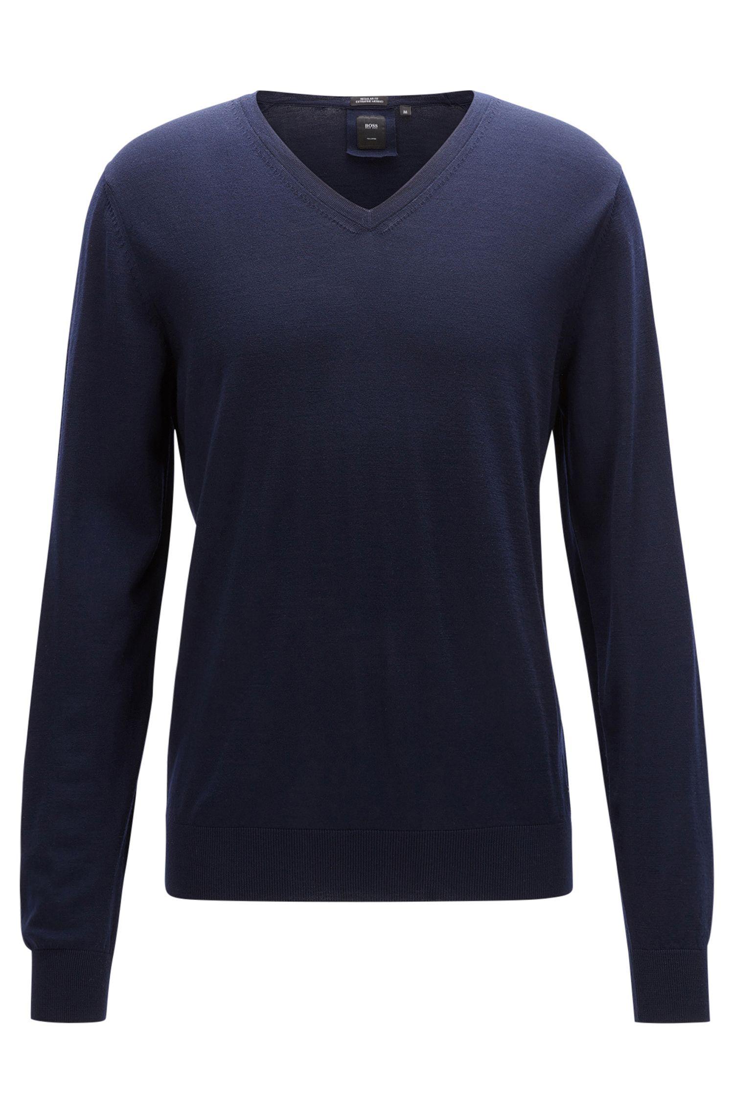 Regular-fit V-neck sweater in virgin wool
