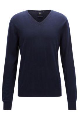 Regular-Fit Pullover aus Schurwolle mit V-Ausschnitt, Dunkelblau