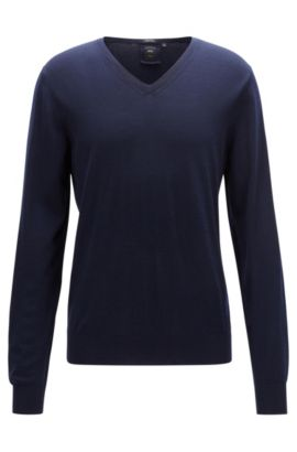 Maglione regular fit con scollo a V in lana vergine, Blu scuro