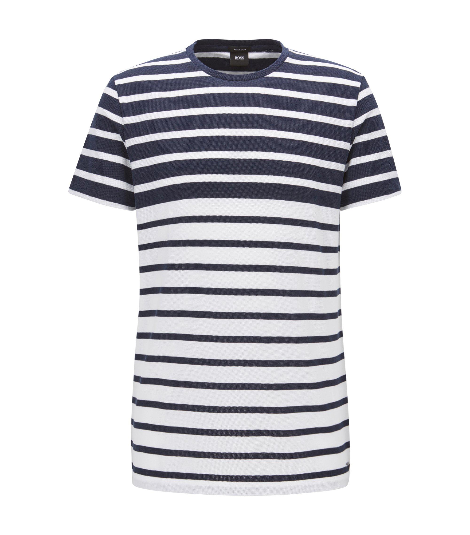 Gestreiftes Regular-Fit T-Shirt aus Baumwoll-Piqué, Dunkelblau