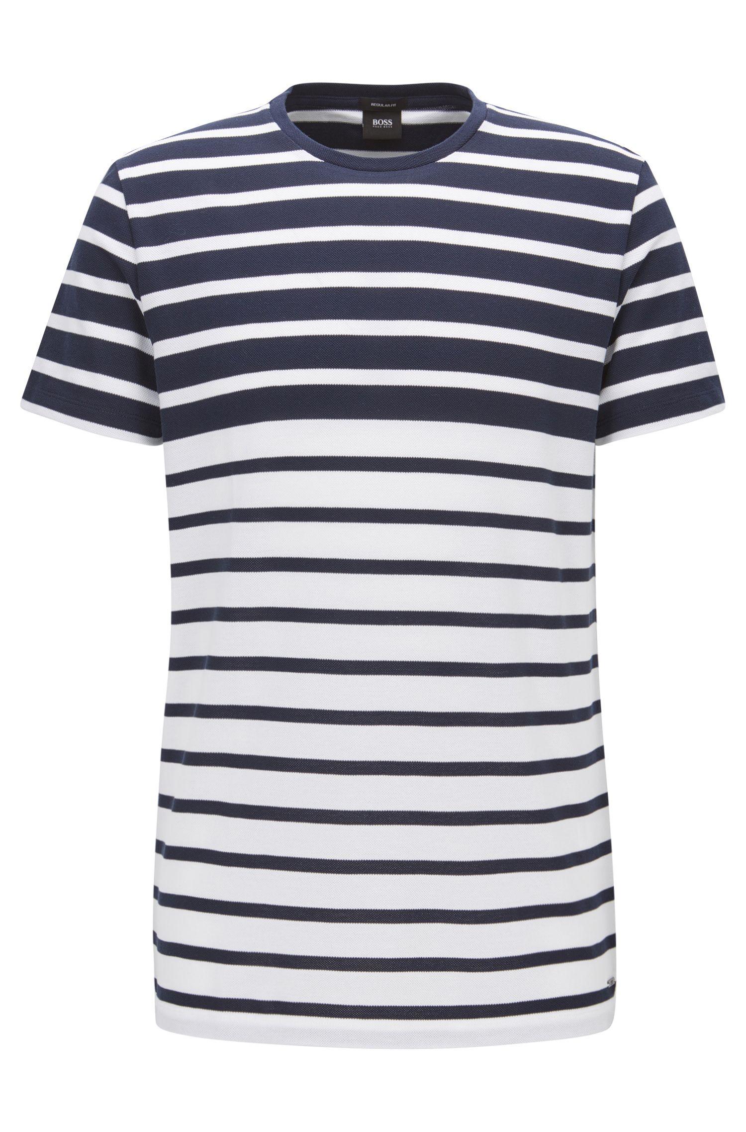 Camiseta regular fit en algodón de piqué a rayas