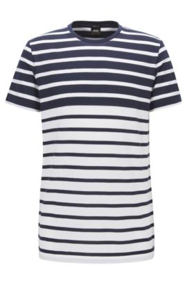 T-shirt a righe regular fit in piqué di cotone, Blu scuro