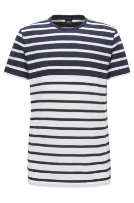 Camiseta regular fit en algodón de piqué a rayas, Azul oscuro