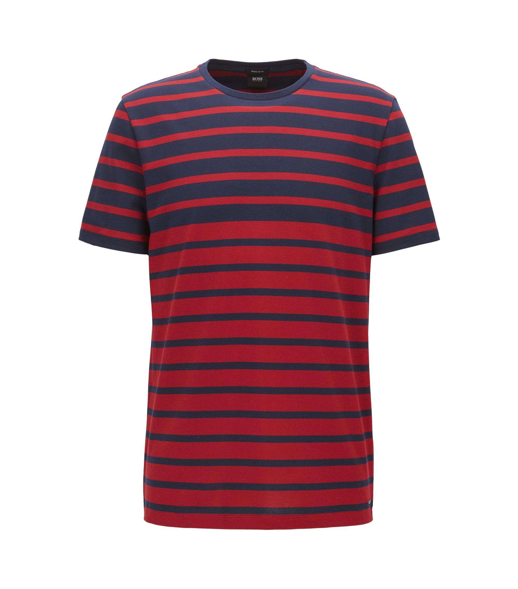 T-shirt Regular Fit en piqué de coton à rayures, Rouge