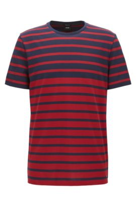 Regular-fit striped T-shirt in piqué cotton, Red