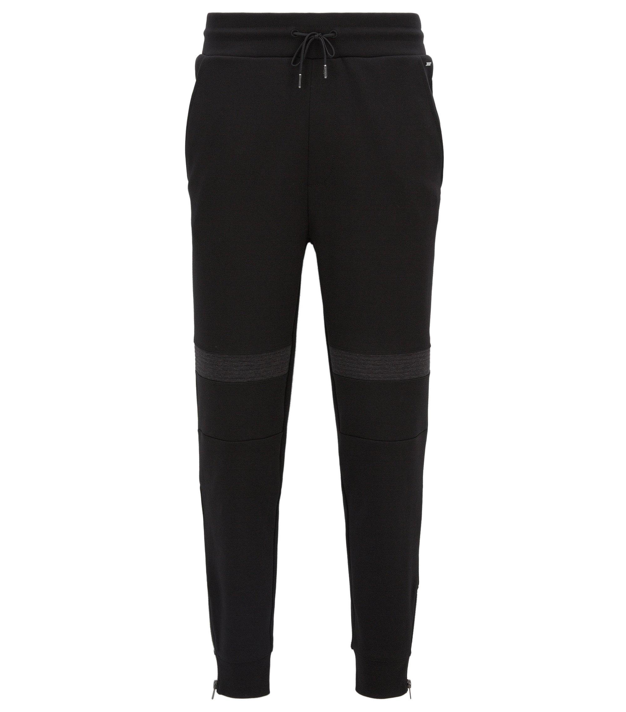 Pantalon Relaxed Fit en coton interlock lourd, Noir