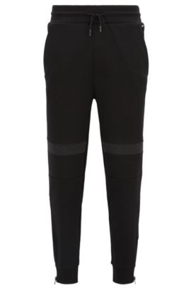 Relaxed-fit trousers in heavyweight interlock cotton, Black