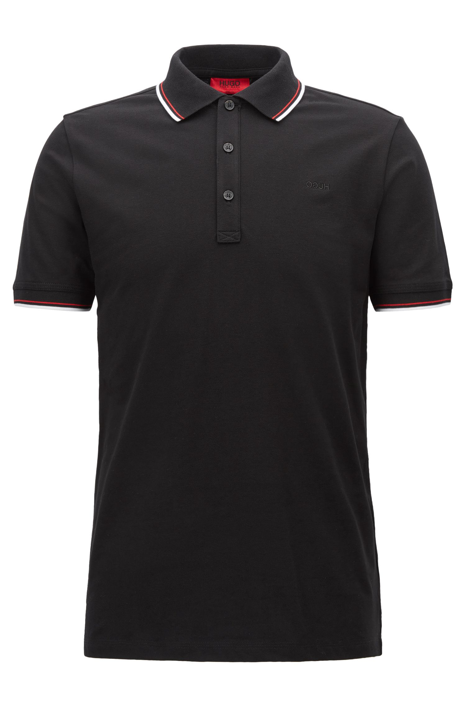Tipped slim-fit polo shirt in stretch cotton