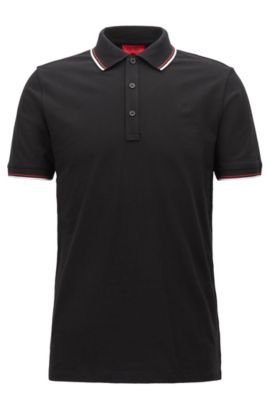 Tipped slim-fit polo shirt in stretch cotton, Black