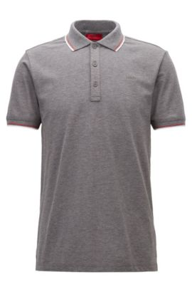 Tipped slim-fit polo shirt in stretch cotton, Open Grey