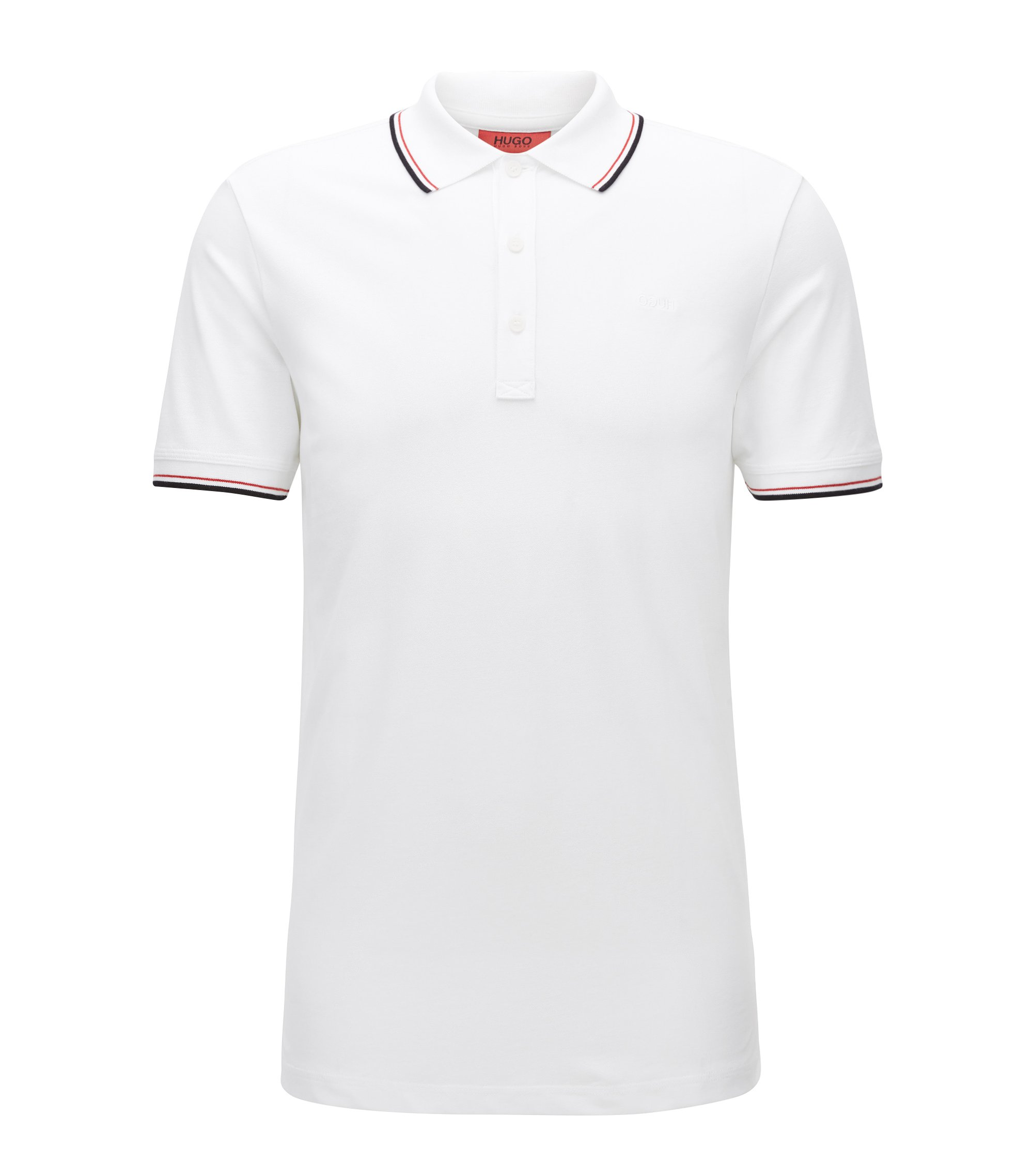 Tipped slim-fit polo shirt in stretch cotton, White