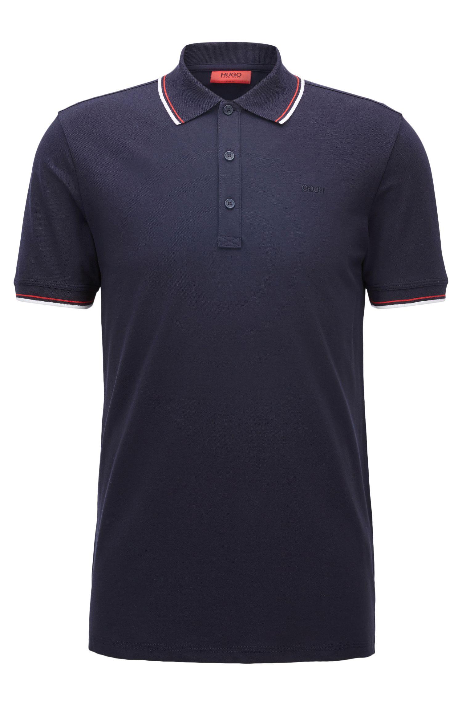 Polo Slim Fit en coton stretch aux finitions contrastées