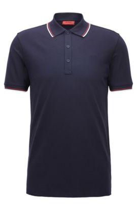 Slim-Fit Poloshirt aus elastischer Baumwolle mit Einfassung, Dunkelblau