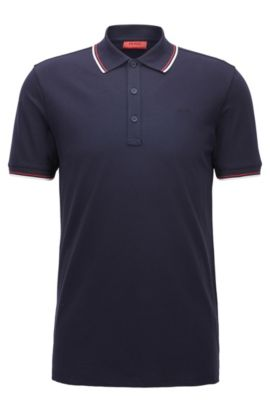 Tipped slim-fit polo shirt in stretch cotton, Dark Blue