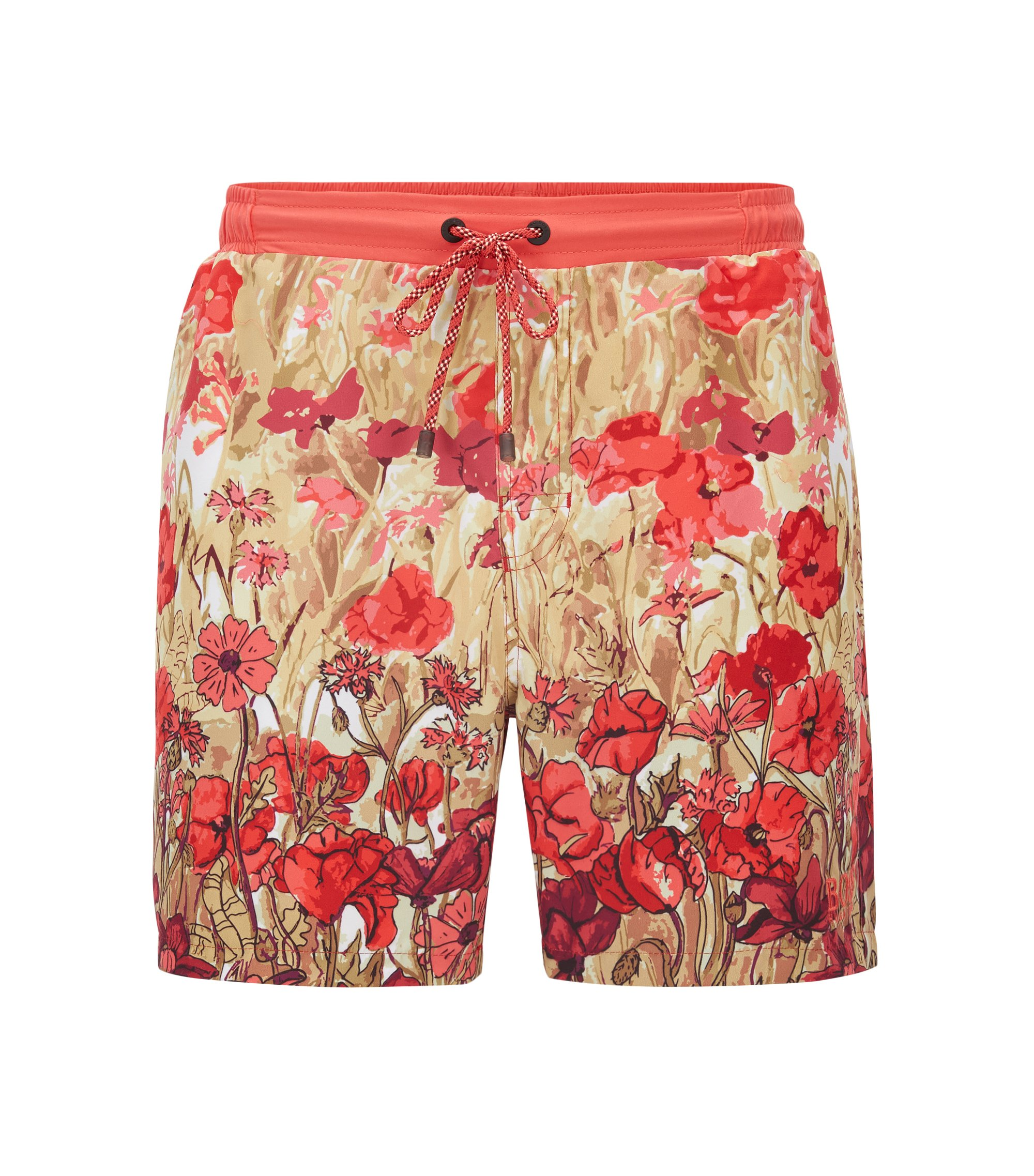 Longer-length swim shorts in technical fabric, Patterned