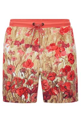 Longer-length swim shorts in technical fabric, Open Red