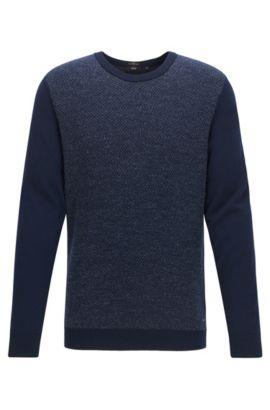 Pull en maille à motif chevrons en laine mélangée, Bleu foncé